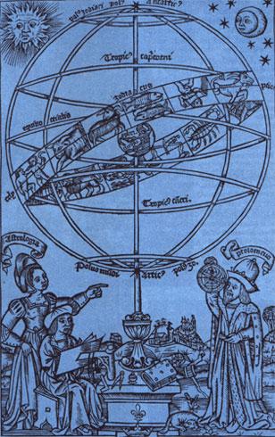 Dieser Holzschnitt von Erhard Schön aus dem Jahre 1515 stellt die Himmelssphäre nach dem System des Ptolemäus dar.