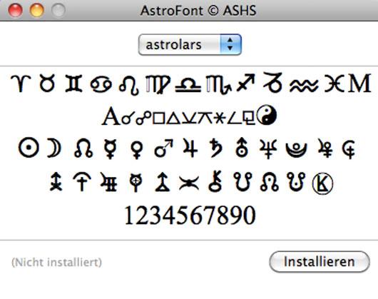 Astrofont auf dem Mac