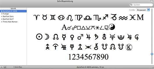 Astro-Schriftensammlung auf dem Mac