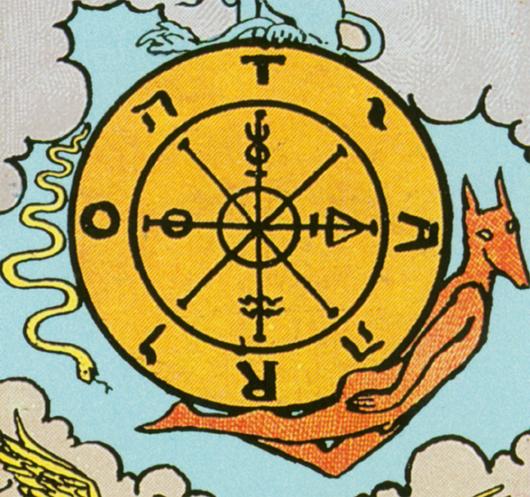 Tarotkarte Glücksrad Detailansicht