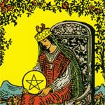 Tarotkarte Königin der Münzen - Bildausschnitt