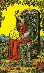 Tarotkarte Königin der Münzen