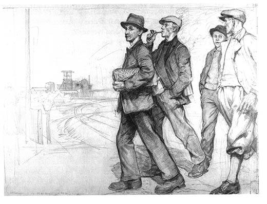 Hermann Kätelhön Bergleute auf dem Weg zur Arbeit